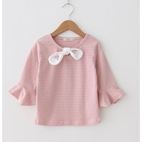Stylish Striped Bow Decor Ruffled 3/4 Sleeve T-shirt for Toddler Girl and Girl