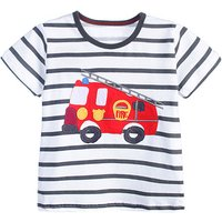 Comfy Truck Applique Striped Short Sleeves Tee for Toddler Boy and Boy