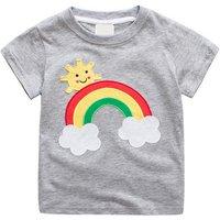 Stylish Rainbow and Sun Applique Short-sleeve T-shirt for Baby Boy and Boy