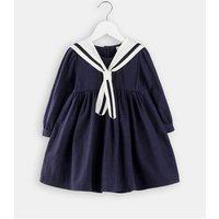 Preppy Style Long Sleeves Dress for Toddler Girl