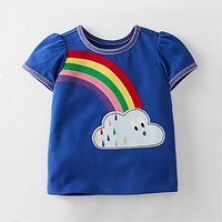 Pretty Rainbow Applique Short-sleeve T-shirt for Baby Girl and Girl