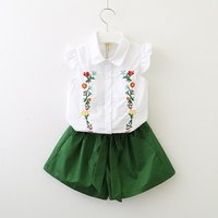 2-piece Flowers Embroidered Flutter-sleeve Tee and Solid Shorts for Toddler Girl