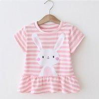 Lovely Striped Rabbit Print Short-sleeve Top for Baby Girl and Girl