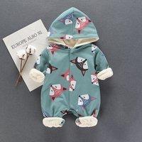Baby's Adorable Fox Fleece-lined Hooded Jumpsuit