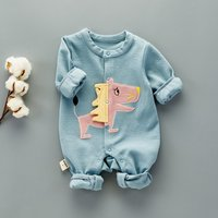 Cool Dino Applique Long-sleeve Jumpsuit in Blue for Baby