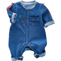 Cool Embroidery Pocket Denim Jumpsuit for Baby Unisex