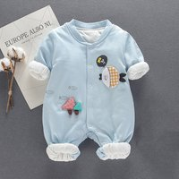 Stylish Fish Appliqued Long-sleeve Cotton Jumpsuit for Baby