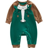 Stylish Horse Design Long-sleeve Jumpsuit for Baby