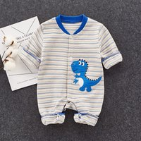 Cool Appliqued Dinosaur Striped Jumpsuit for Baby Boy