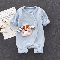 Lovely Appliqued Dog Long-sleeve Jumpsuit for Baby