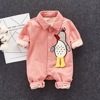Handsome Striped Appliqued Penguin Long-sleeve Jumpsuit for Baby