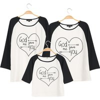 Heart Printed Long Sleeve Family Matching T-shirt