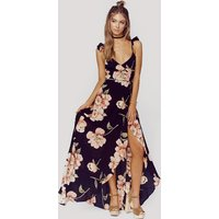 Pretty Floral Slit Design Ruffled Slip Dress for Women