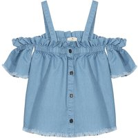 Sweet Off Shoulder Tassel Denim Blouse for Baby Girl and Girl