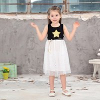Unique Star Print Belted Sleeveless Dress for Girl