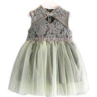 Elegant Lace Tulle Skirt Sleeveless Dress for Girl