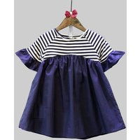 Adorable Striped Short-sleeve Dress for Baby Girls