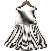 Pretty Striped Hollow Out Sleeveless Dress for Girl