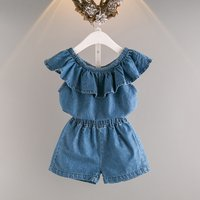 2-piece Trendy Flounced Off Shoulder Denim Top and Shorts for Girls