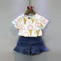 2-piece Ice Cream Pattern Short-sleeve Top and Denim Shorts Set for Girls
