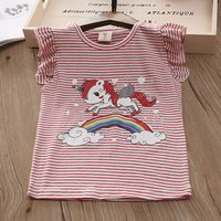 Adorable Unicorn and Rainbow Print Striped Flounce-sleeve T-shirt for Baby Girl and Girl