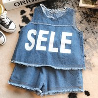 2-piece Fashionable SELE Print Sleeveless Denim Vest and Shorts for Toddler Girls