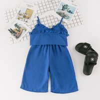 Trendy Solid Ruffled Strap Top and Loose Pants Set in Blue for Toddler Girl and Girl