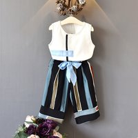 2-piece Trendy Tank Top and Striped Wide Leg Pants for Toddler Girl