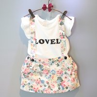 2-piece Ruffle-sleeve Letter Top and Strap Skirt for Toddler Girl