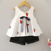 Cute Watermelon Print Tank Top and Shorts Set for Baby and Toddler Girl