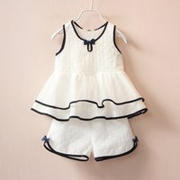 Beautiful Bow Ruffle Sleeveless Top and Shorts Set for Toddler Girls and Girls