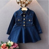 Trendy Solid Single-breasted Long-sleeve Denim Dress for Toddler Girl and Girl
