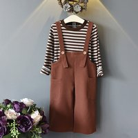 2-piece Trendy Striped Top and Suspender Pants Set for Girls