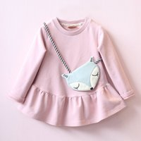 Fresh Pleated Dress with a Bag for Baby and Toddler Girl