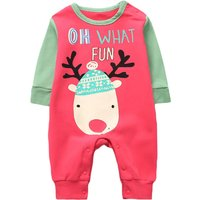 Lovely Christmas Santa and Deer Print Jumpsuit for Newborn and Babies