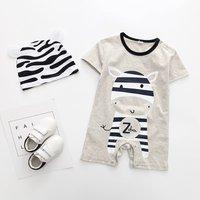 2-piece Zebra Print Short Sleeves Jumpsuit and Hat Set for Toddler Boy