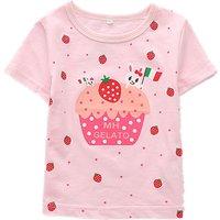 Adorable Strawberry Cake Print Short-sleeve Tee for Girls
