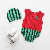2-piece Watermelon Pattern Short-sleeve Striped Bodysuit and Hat Set for Baby