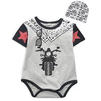 Toddler Boy's Cool Motorcycle Print Bodysuit and Floral Hat Set