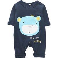 Stylish Monkey Print Long-sleeve Jumpsuit for Baby Boy