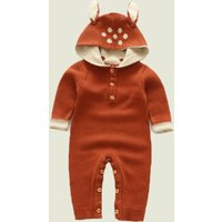 Cute Deer Design Knitted Jumpsuit with Hood
