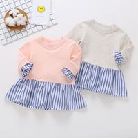 Striped Long-sleeve Sweet Dresses for Baby Girls
