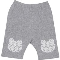 Comfy Solid Lace Bear Applique Shorts for Baby Girl