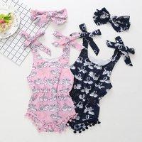 2-piece Swan Print Tassel Bodysuit and Headband for Baby