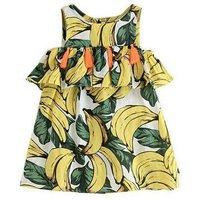 Allover Banana Print Sleeveless Ruffle Dress for Baby Girl