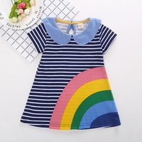 Lovely Color-blocking Rainbow Print Striped Dress for Toddler Girls and Girls