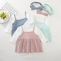 Lovely Color Blocked Faux-two Dress Bodysuit and Headband for Baby