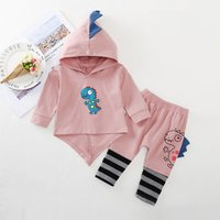 Cute Dino Design Hooded Top and Striped Pants Set for Baby and Toddler