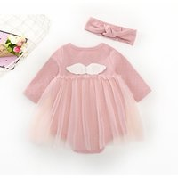 Lovely Dotted Wing Decor Mesh Overlay Bodysuit and Headband Set in Pink for Baby Girl