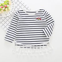 Sassy Striped Rainbow Appliqued Long-sleeve Top for Toddler Girl